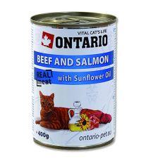 Ontario Beef, Salmon, Sunflower oil - hovädzie & losos & slnečnicový olej pre dospelé mačky 400 g