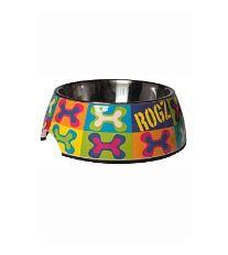 Rogz Bowlz Bubble - Miska pre psov nerezová a plastová vzor Pop Art, 700 ml