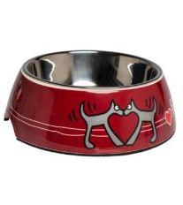 Rogz Bowlz Bubble - Miska pre psov nerezová a plastová vzor Red Heart, 700 ml