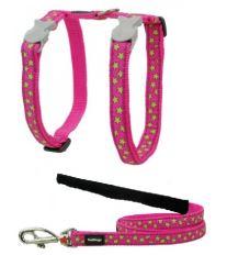 Red Dingo Nylonový postroj s vodítkom pre mačku Stars Lime on Hot Pink