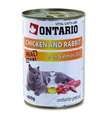 Ontario Chicken, Rabbit, Salmon oil konzerva - kura & králik & lososový olej 400 g