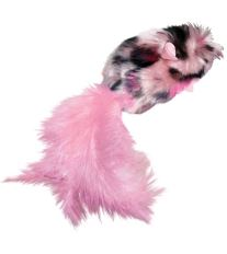Hračka cat plyš Myš s perím a catnipom Kong 1 ks