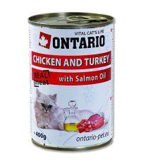 Ontario Chicken, Turkey, Salmon Oil konzerva - kura & morka & lososový olej 400 g