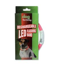 Obojok DOG FANTASY svetelný USB fialový 45 cm