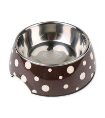 Miska DOG FANTASY nerezová hnědá + bílé puntíky 27 cm - 1400 ml
