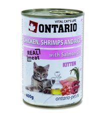 Konzerva pre mačky Ontario Kitten Chicken, Shrimp, Rice and Salmon Oil 400 g