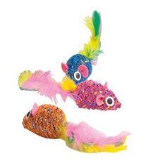 Karlie-Flamingo Hračka myš s pírkem s Catnipem 5cm