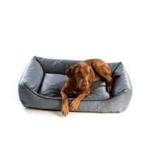 Pelech pre psa Argi obdĺžnikový - odnímateľný povlak z ekokoža - sivý - 90 x 70 cm
