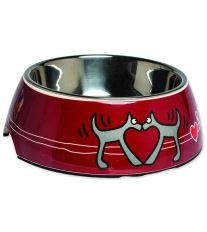 Rogz Bowlz Bubble - Miska pre psov nerezová a plastová vzor Red Heart, 350 ml