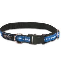 Obojek pro psa nylonový - modrý se vzorem kost - 2 x 35 - 50 cm