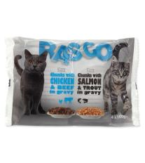 Kapsička Rasco Cat s lososom a pstruhom / s kuracím a hovädzím 4x100g