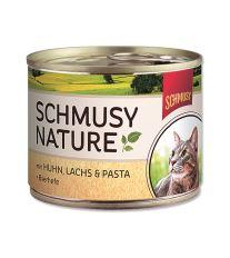 Schmusy Nature Menu konzerva - kura & losos 190 g