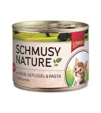 Schmusy Nature Menu Junior konzerva - teľacie & hydina pre mačiatka 190 g