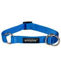 Obojek pro psa polostahovací nylonový - modrý - 1,5 x 25 - 40 cm