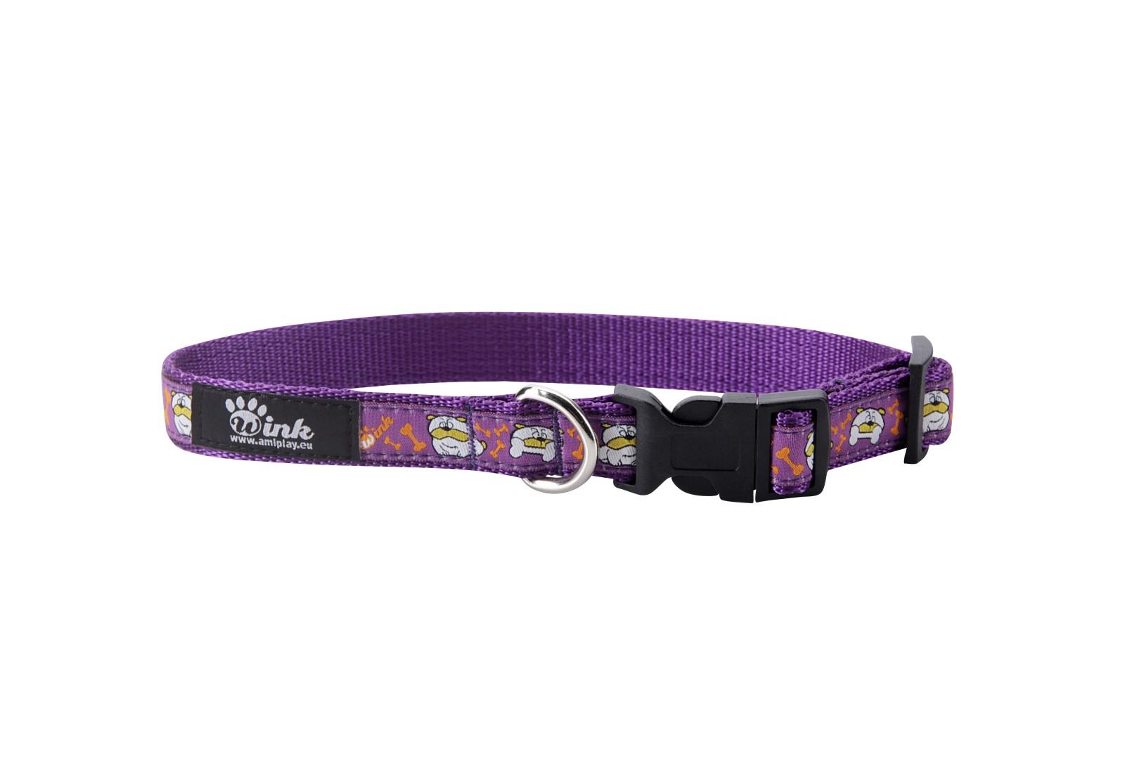 Obojek pro psa nylonový - fialový se vzorem pes - 2 8a23482a05