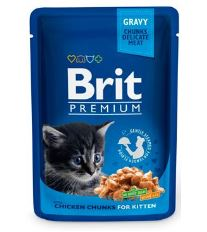 Brit Premium Kitten Chicken Chunks - kapsička s kuracími kúskami pre mačiatka 100 g