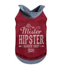 Tričko pro psa s límečkem Milk&Pepper - červené - 19 cm