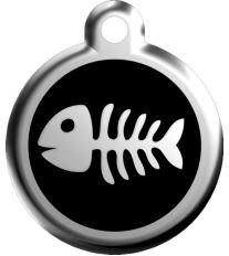 Red Dingo Známka čierna vzor rybej kostra - veľkosť S, 20 mm