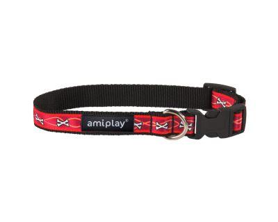 Obojek pro psa nylonový - červený se vzorem kost - 2 x 35 - 50 cm