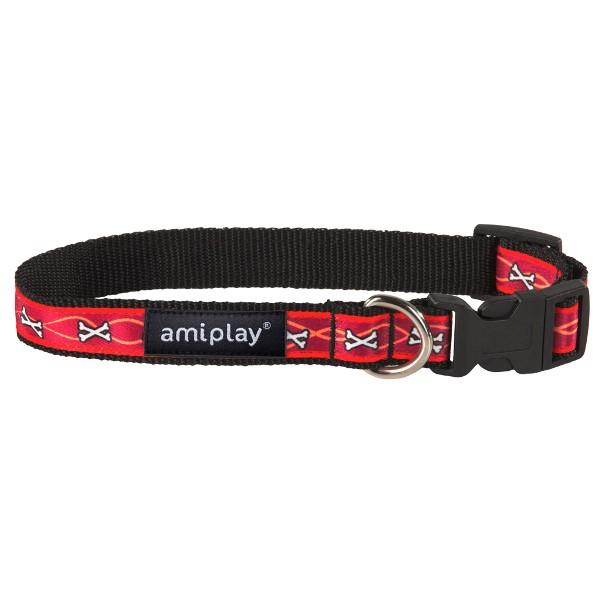 Obojek pro psa nylonový - červený se vzorem kost - 2 x 35 - 50 cm ... a9d83b0a19