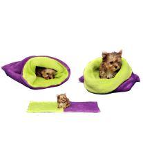 Marie Brožková MARYS Spací vak 3v1 XL pre psov a mačky fialový so svetlo zelenou