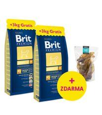2 x Brit Premium Junior M 15 kg + 3 kg ZADARMO + Hovädzie uši Argi 10 ks ZADARMO