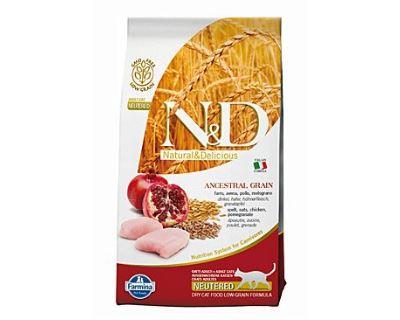 N&D Low Grain Cat Neutered Chicken & Pomegr. - Kuracie & gr. jablko s nízkym obsahom ibilovin pre kastrované mačky 1,5 kg