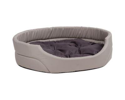 Pelech pro psa oválný s polštářem - béžový - 40 x 30 x 12 cm