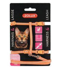 Postroj kočka s vodítkem 1,2m oranžový Zolux