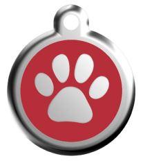 Red Dingo Známka červená vzor labka