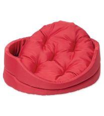 Pelíšek DOG FANTASY ovál s polštářem červený 54 cm