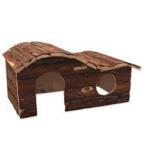Domček SMALL ANIMAL Kaskada drevený s kôrou 43 x 28 x 22 cm
