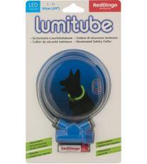 Obojok pre psov svietiace - Red Dingo Lumitube led - modrý - 15 - 50 cm