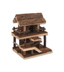 Domček SMALL ANIMAL Dvojposchodový drevený s kôrou 17 x 15 x 20 cm