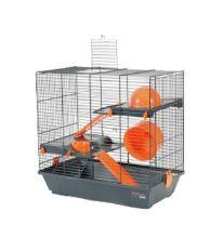 Klec křeček INDOOR 50cm 2 patra oranž s výbavou Zolux