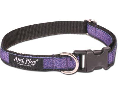 Obojek pro psa nylonový - fialový se vzorem - 2,5 x 34 - 55 cm