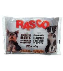 Kapsička Rasco Dog s kuracím a hovädzím / s jahňacím a kuracím 4x100g