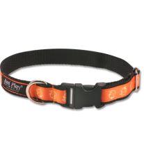 Obojek pro psa nylonový - oranžový se vzorem pes - 2,5 x 45 - 70 cm