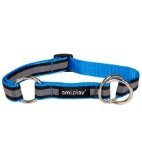 Obojek pro psa polostahovací nylonový reflexní - modrý - 1,5 x 25 - 40 cm