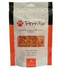 Perrito Chicken & Seafood Jerky - kura & morské plody maškrtu pre mačky 100 g