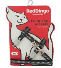 Red Dingo Postroj  s vodítkem - kočka- Skull & Wire Black