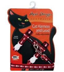 Red Dingo Postroj s vodítkem - kočka - Fisbone Red