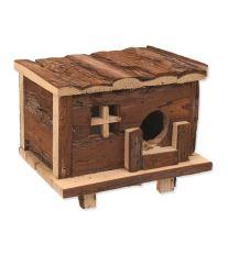 Domček SMALL ANIMAL Zrub drevený s kôrou 18 x 13 x 13,5 cm