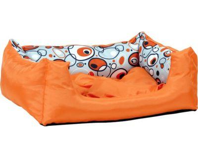 Pelech pre psa Argi obdĺžnikový s vankúšom - oranžový so vzorom - 76 x 60 x 20 cm