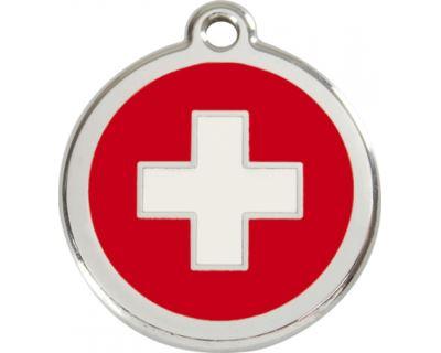 Red Dingo Známka červená vzor švajčiarsky kríž