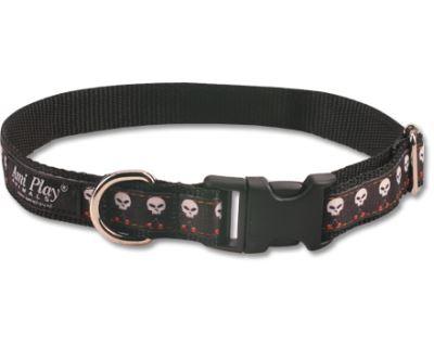 Obojek pro psa nylonový - černý se vzorem lebka - 2,5 x 34 - 55 cm