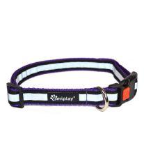 Obojek pro psa nylonový reflexní - bezpečnostní - fialový - 2,5 x 53 - 85 cm