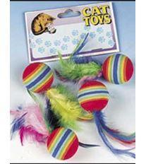 Hračka FLAMINGO loptičky s perkami dúhové