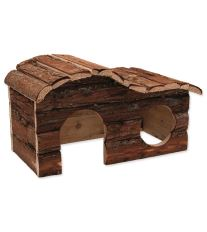 Domček SMALL ANIMAL Kaskada drevený s kôrou 31 x 19 x 19 cm