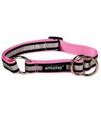 Obojek pro psa polostahovací nylonový reflexní - růžový - 1,5 x 25 - 40 cm